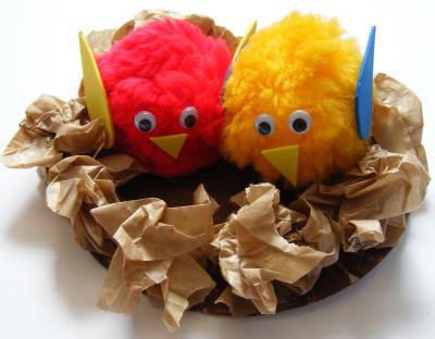 Springtime kids crafts green for Baby bird nest craft