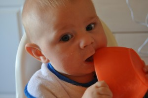 Noah eating a bowl