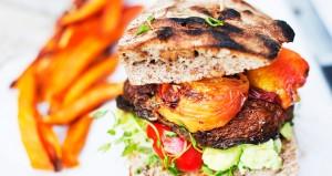 Portobello_burger with peaches