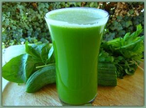 green juice rich with chlorophyll