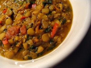 moroccan spiced green lentils