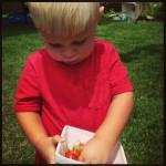 Noah holding tomatoes