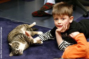 Kids with cat