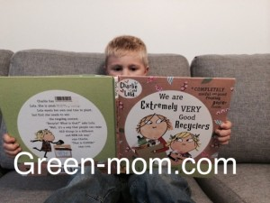 Noah reading recycling book
