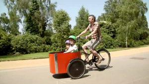 children being carried in cargo bike